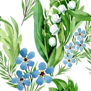 Forget me not and lily of the valley flowers. Watercolor background illustration set. Seamless background pattern.