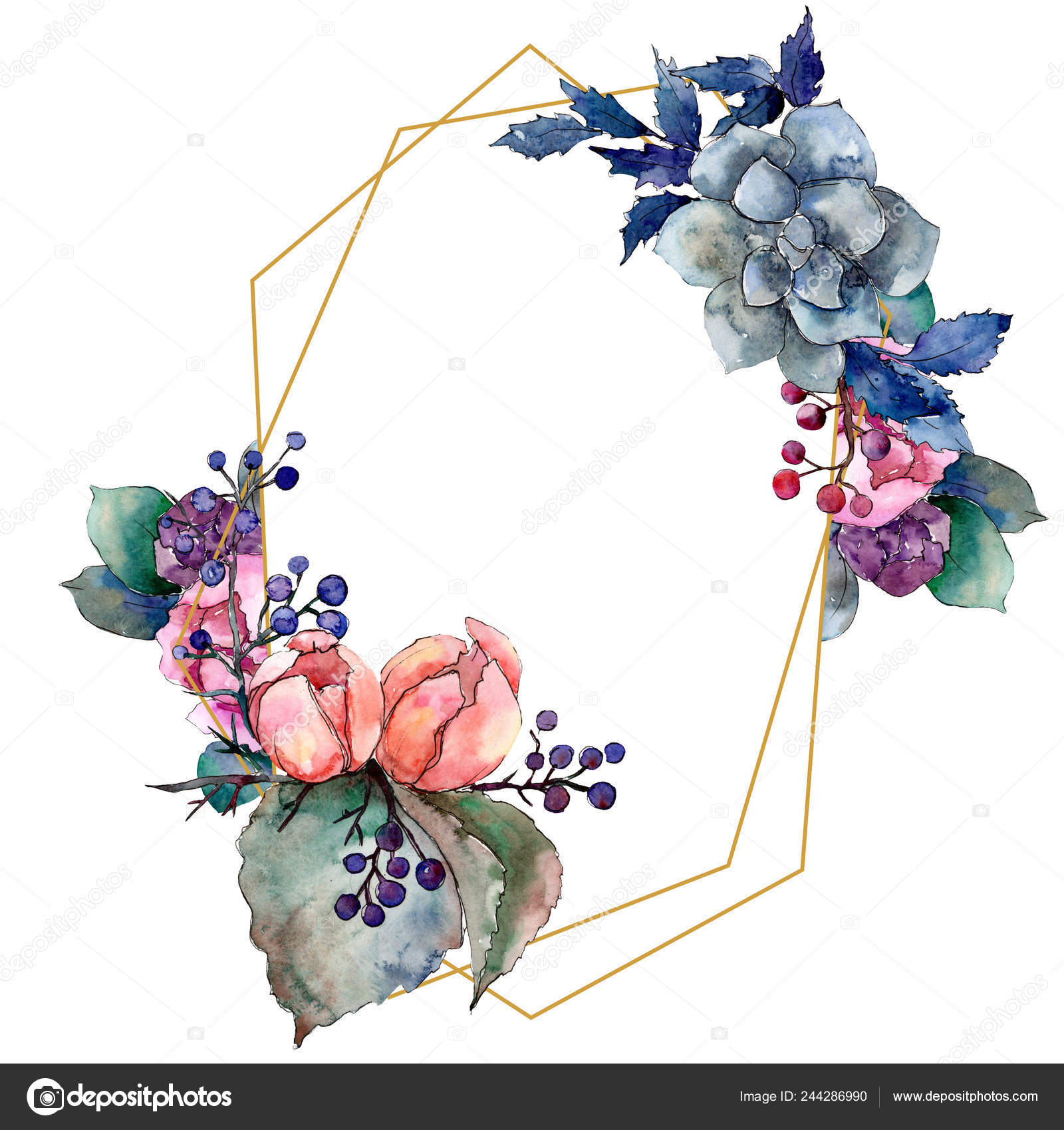 Peony And Succulent Bouquet Floral Flower Watercolor Background Illustration Set Frame Border Ornament Square Stock Photo Image By C Mystocks 244286990