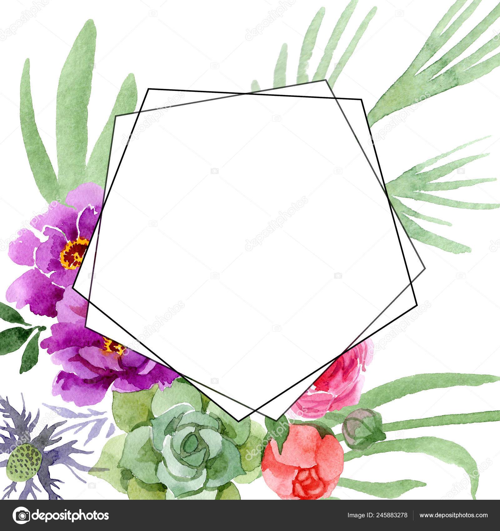 Peony And Succulent Bouquet Botanical Flower Watercolor Background Illustration Set Frame Border Ornament Square Stock Photo C Mystocks 245883278