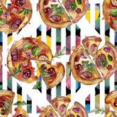 Fotografie Fast food itallian pizza in a watercolor style isolated set. Watercolour seamless background pattern.