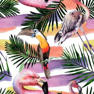 """Картина, постер, плакат, фотообои """"экзотический красный фламинго в дикой природе изолированы. набор акварельных фонов. бесшовный рисунок фона ."""", артикул 249056896"""