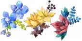 Csokor összetétele botanikai virág virágok. Vad tavaszi levél vadvirág. Akvarell háttér illusztráció készlet. Akvarell rajz divat aquarelle. Elszigetelt csokor ábra elem.