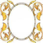 Arany monogrammal virág dísz. Akvarell háttér illusztráció készlet. Test határ Dísz tér.