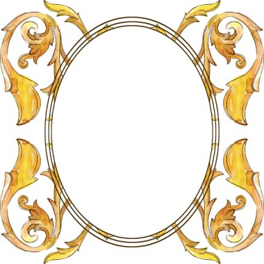 Gold monogram floral ornament. Baroque design isolated elements. Watercolor background illustration set. Watercolour drawing fashion aquarelle isolated. Frame border ornament square. stock vector