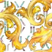 Fotografie Gold Monogram floral Ornament. Aquarell Hintergrund Illustration-Set. Nahtlose Hintergrundmuster