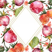 Fotografie Strawberry healthy food. Watercolor background illustration set. Frame border ornament square.