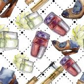 Módní skica v akvarel styl izolovaného elementu. Sada akvarel ilustrace. Vzor bezešvé pozadí.