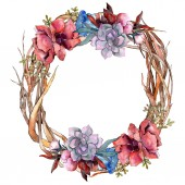 Fényképek Csokor virág botanikai virágok. Akvarell háttér illusztráció készlet. Test határ Dísz tér.