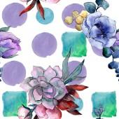 Fotografie Kytice květinové botanické květin. Sada akvarel pozadí obrázku. Vzor bezešvé pozadí.