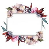 Csokor virág botanikai virágok. Akvarell háttér illusztráció készlet. Test határ Dísz tér.
