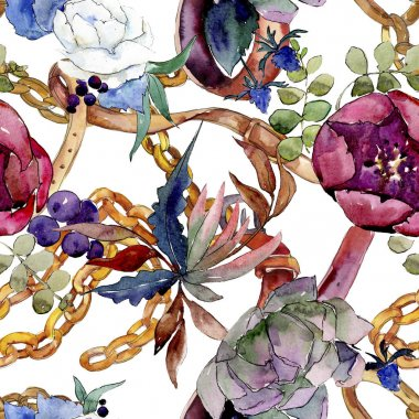 Bouquet floral botanical flowers. Watercolor background illustration set. background pattern.