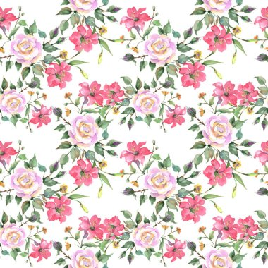 "Картина, постер, плакат, фотообои ""Pink rose bouquet botanical flowers. Wild spring leaf wildflower. Watercolor illustration set. Watercolour drawing fashion aquarelle. Seamless background pattern. Fabric wallpaper print texture."", артикул 275500054"