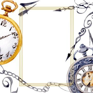 Vintage old clock pocket watch. Watercolor background illustration set. Frame border ornament square.