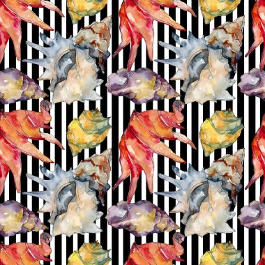 Summer beach seashell tropical elements. Watercolor illustration set. Seamless background pattern.