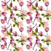 Pink magnólia virágos botanikus virágok. Akvarell háttér illusztráció meg. Folytonos háttérmintázat.