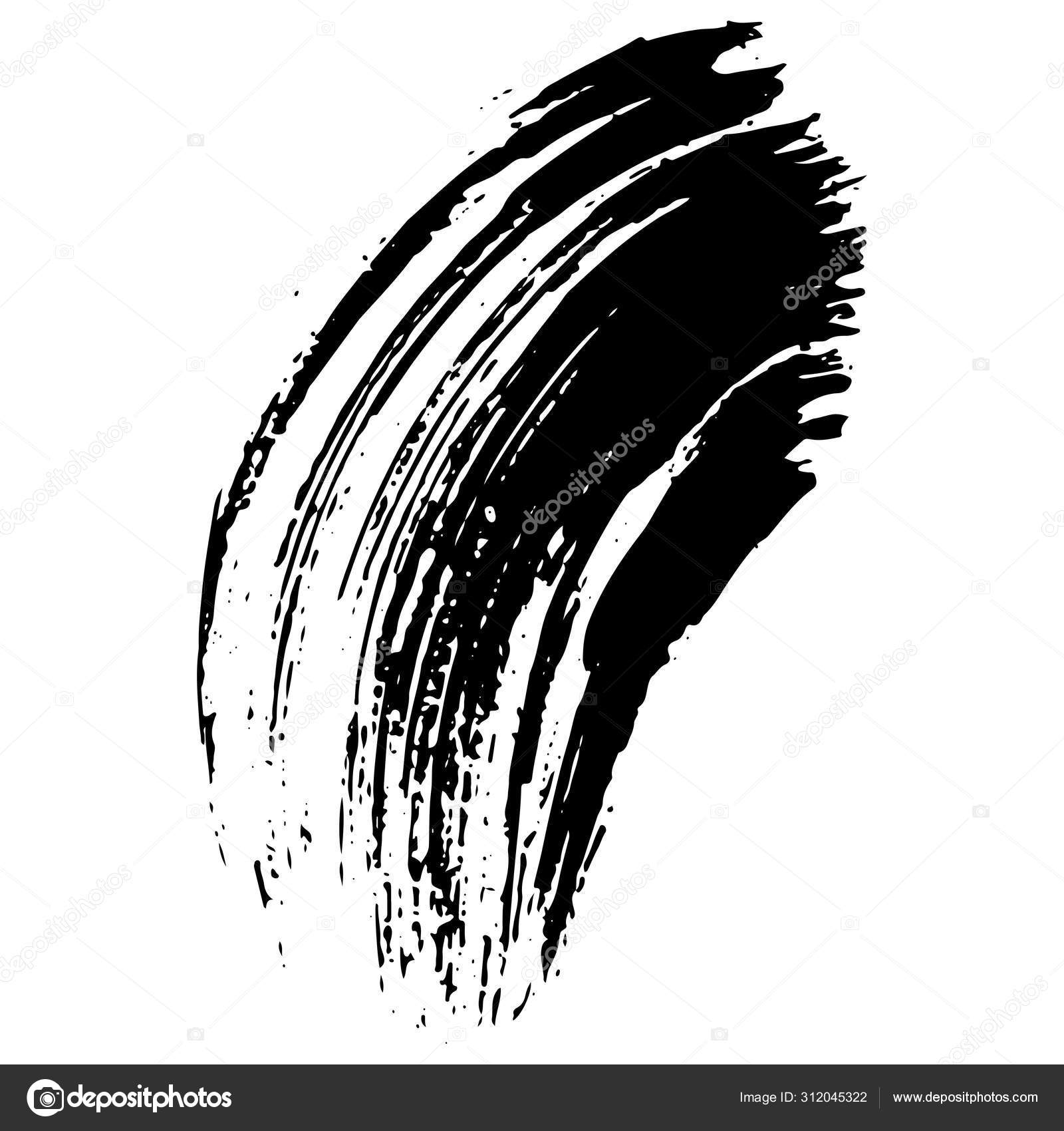 Vector Abstract Black Brush Curl Black And White Engraved