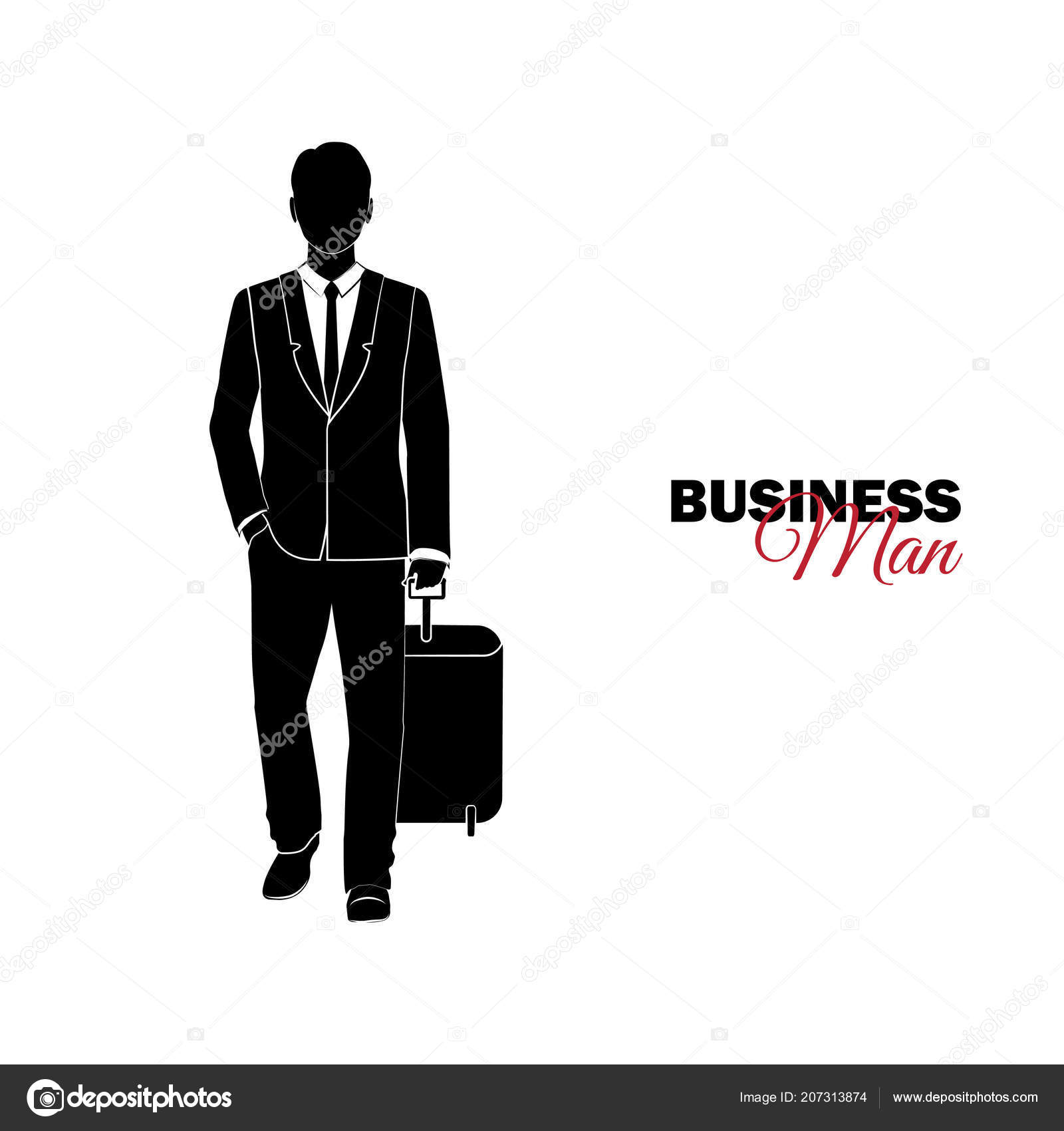 Businessman Manager Man Business Suit Businessman Comes Suitcase
