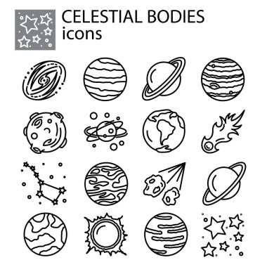 celestial bodies, planets, meteorites, solar system, comets, stars set icon thin line, linear, outline. celestial bodies, planets, meteorites, solar system  simple sign, galaxies, space logo symbol