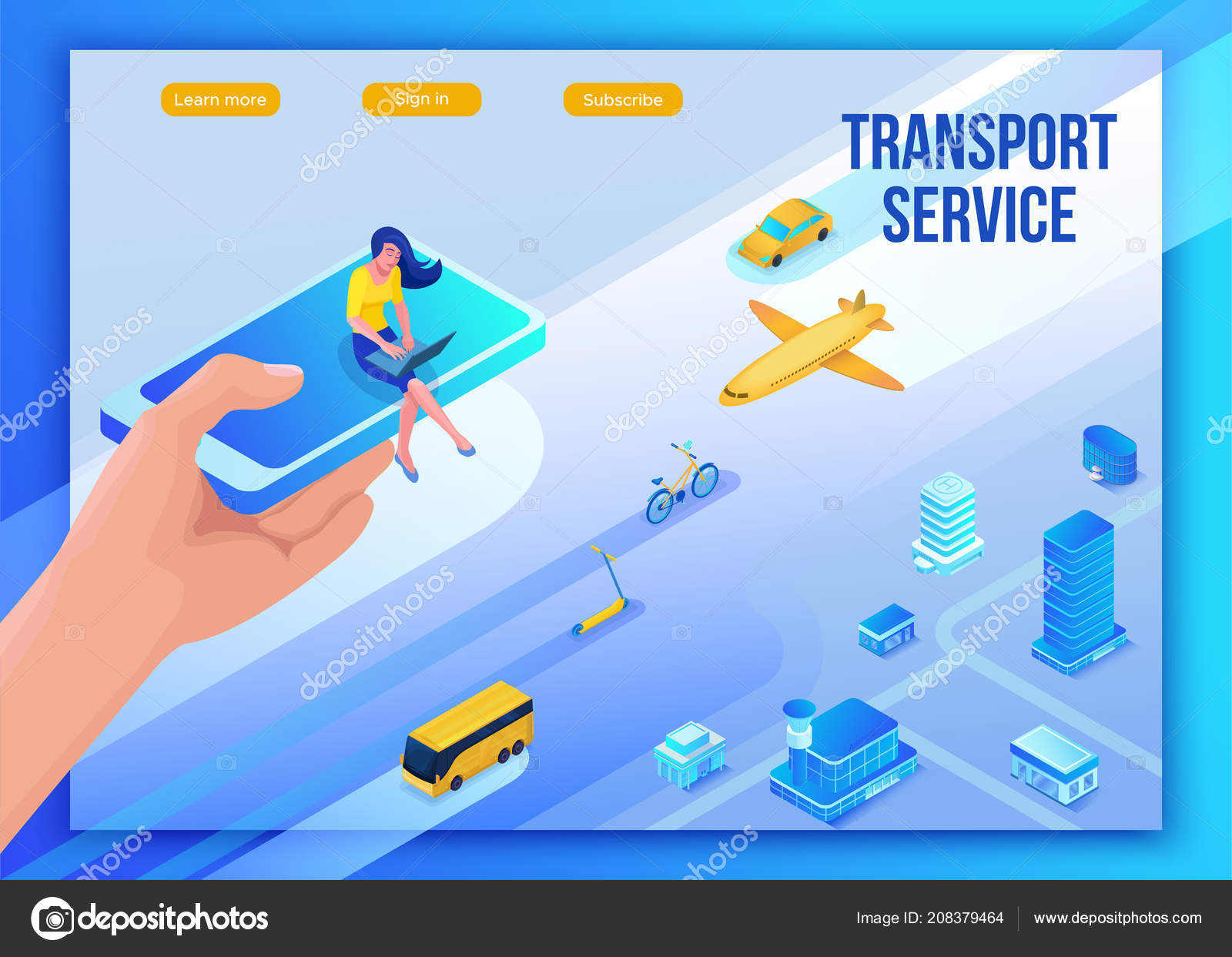 Mobile transportation online service landing page template, travel