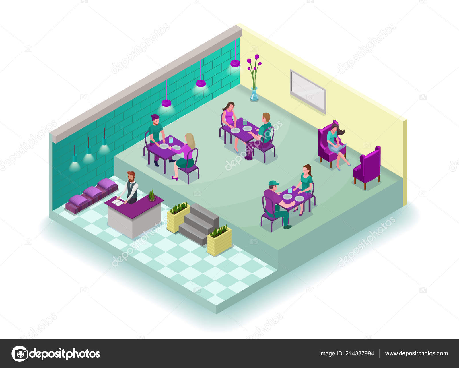 Isometric Cafe Interior With People 3d Concept Of Modern Restaurant With Visitors Having Food Reception Sofa Table Vector Illustration Stock Vector C Nadine C 214337994