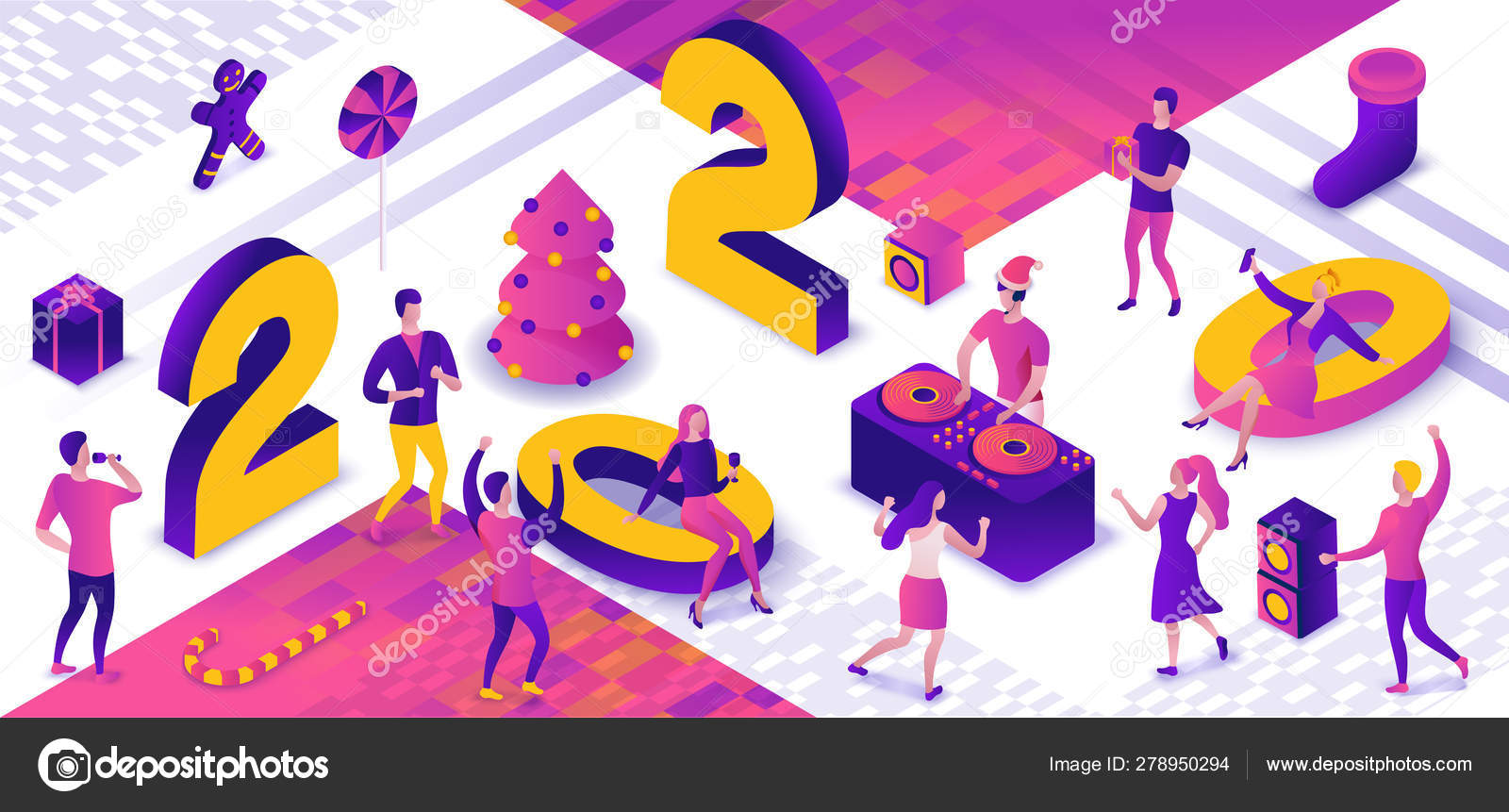 New year party 3d isometric illustration, dj playing club