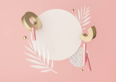 3d rendered illustration with flying geometric shapes and tropical leaves. Background for product design or text presentation mock up. Spheres, torus, cylinders, in pink and metallic gold colors.