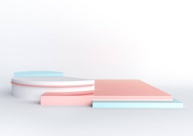 3d rendered illustration with geometric shapes. Pastel colors platforms for product presentation. Abstract composition in modern style. Minimal design with empty space.