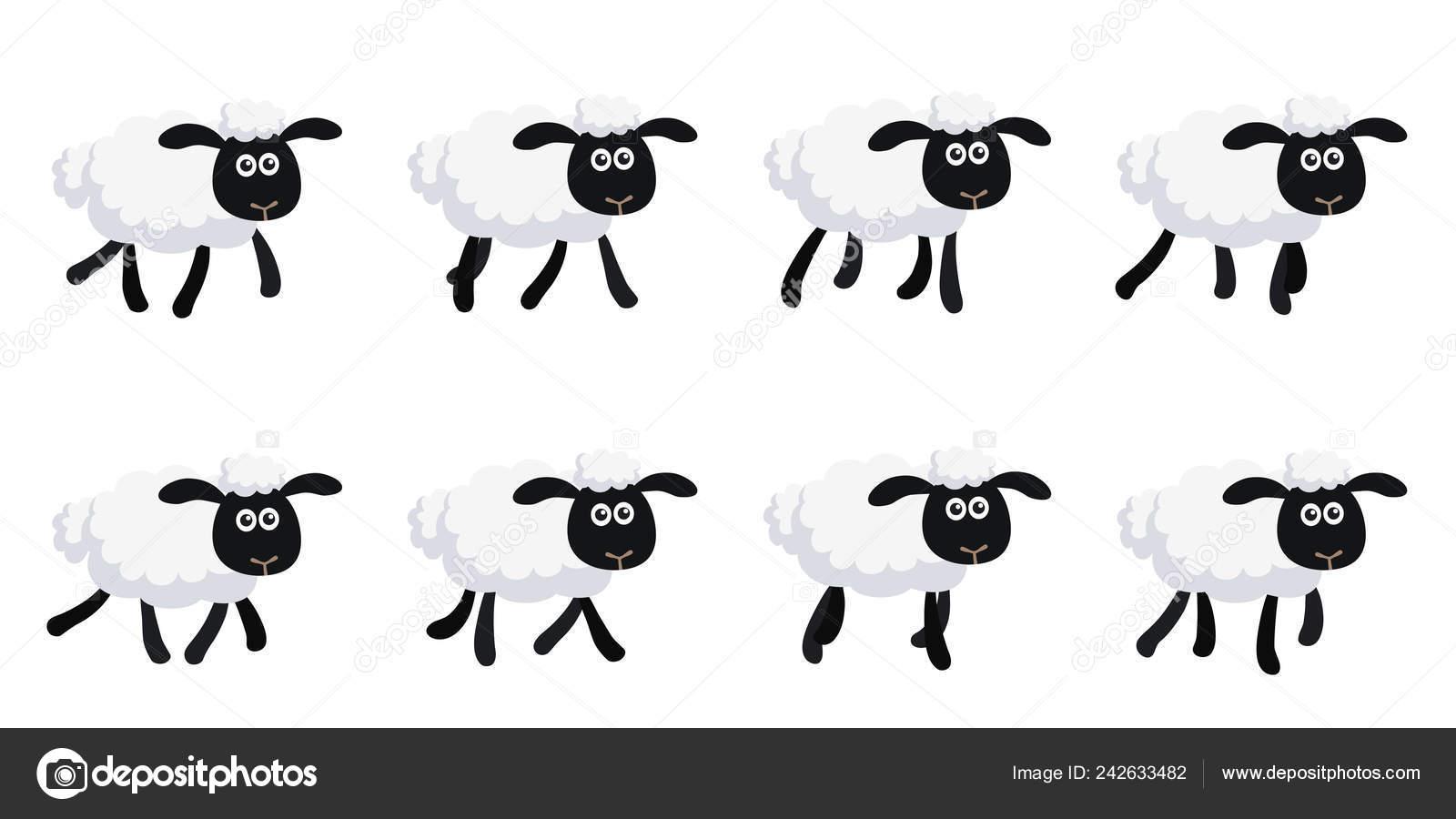 Vector Illustration Cartoon Trotting Sheep Sprite Sheet