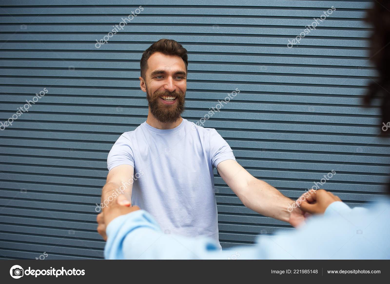 Closeup Portrait Smiling Hipster Guy Wearing Beard Grey