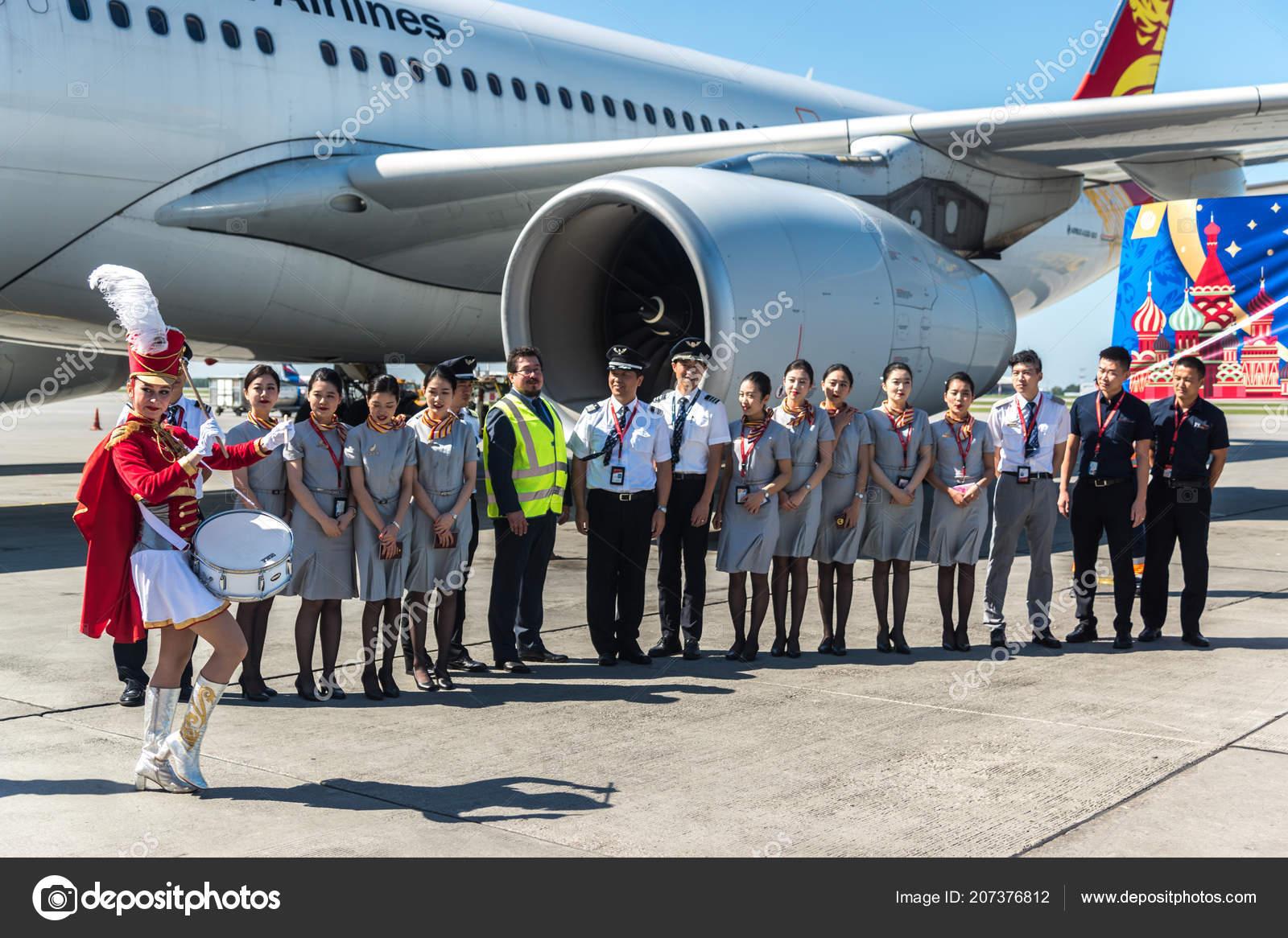 Moscovo Rússia Julho Tripulação Airbus A330 Beijing Capital Airlines  Funcionários — Fotografia de Stock 611687cb68bd3