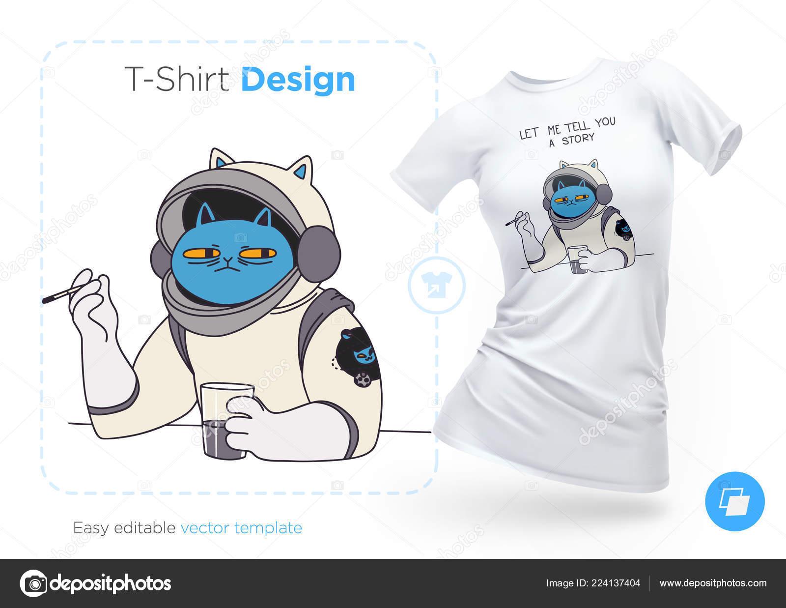 322da784318 Srandovní Kočka Astronaut Shirt Design Tisk Pro Oblečení Plakáty Nebo —  Stockový vektor