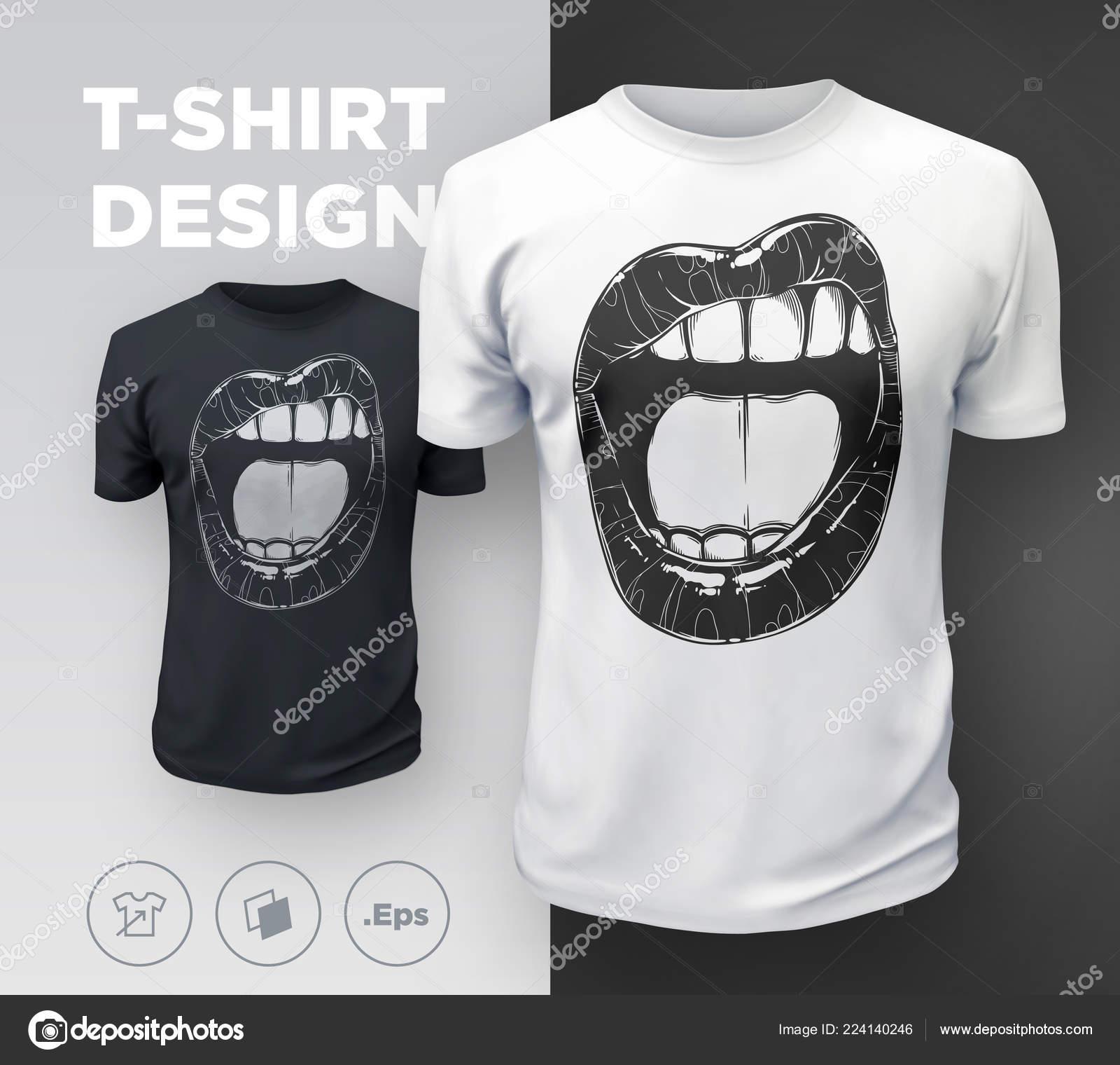 9490a22637aa3 Impresión Camiseta Los Labios Mujer Boca Sexy Blanco Negro Muchacha —  Vector de stock