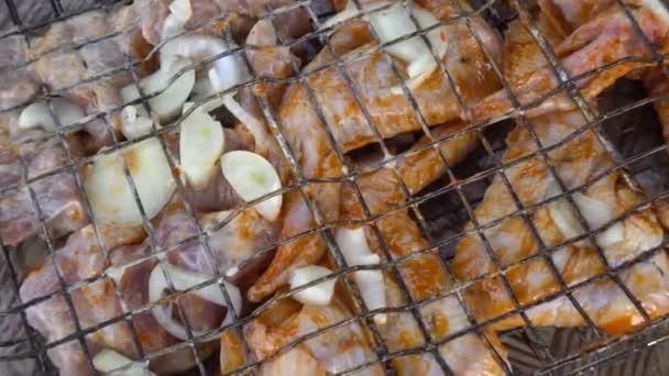 Marinované kuřecí a hovězí kebab na grilovací rošt