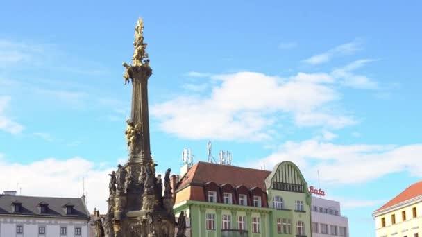 Česká republika. Olomouc září 2018. Sloup Nejsvětější Trojice na hlavním náměstí starého města
