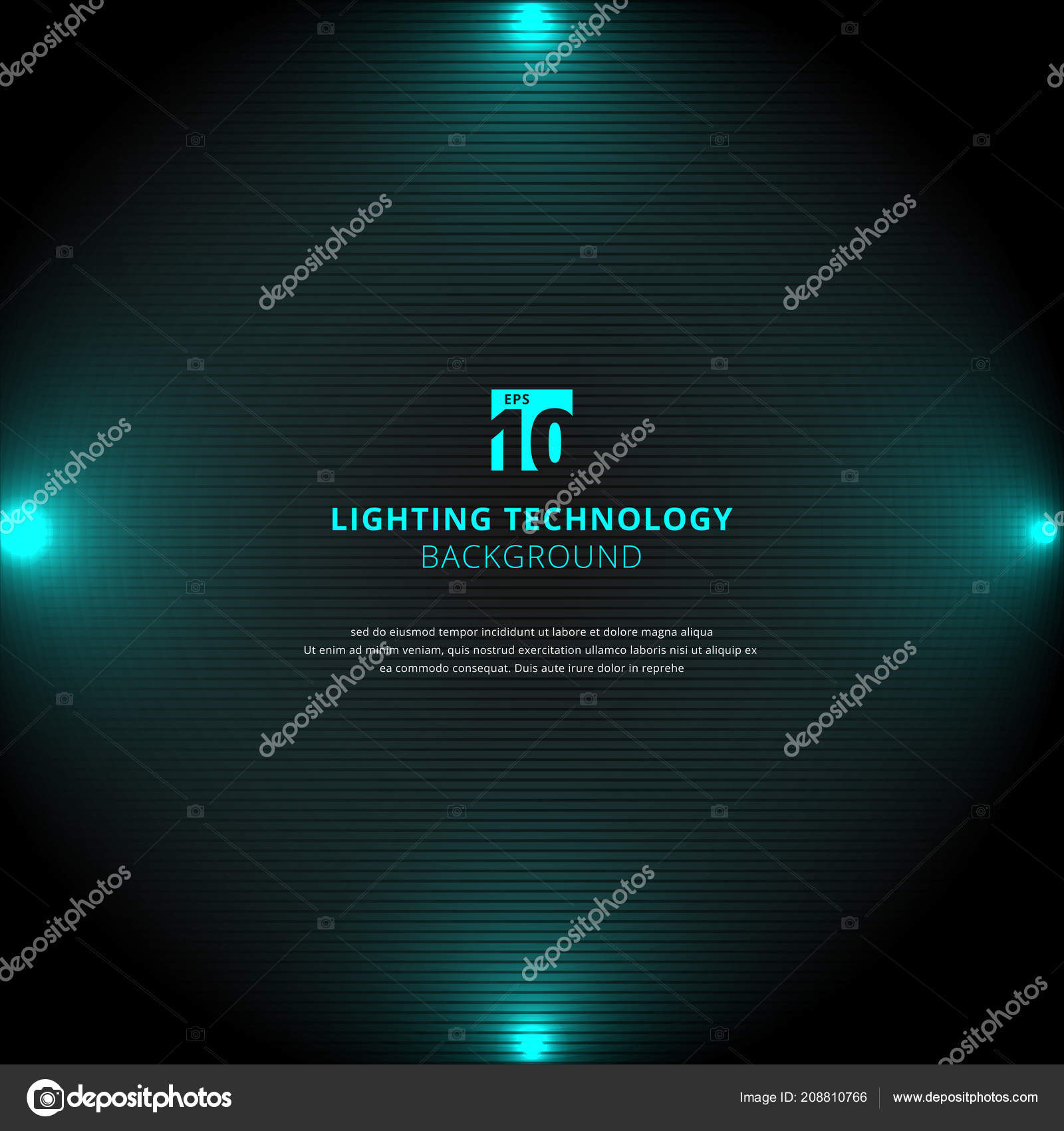 technology blue lighting glow effect with spotlight on black horizontal lines background and texture vector illustration vector by phochi
