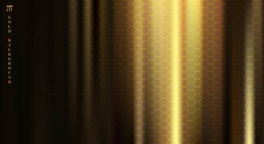 Golden fabric with smooth crease and folds highlight deep shadows on black background with hexagons pattern texture. Vector illustration