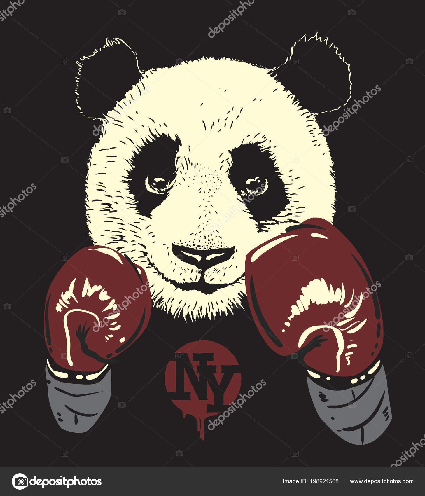 Oso dibujado de la mano de Panda en guantes de boxeo, — Vector de stock
