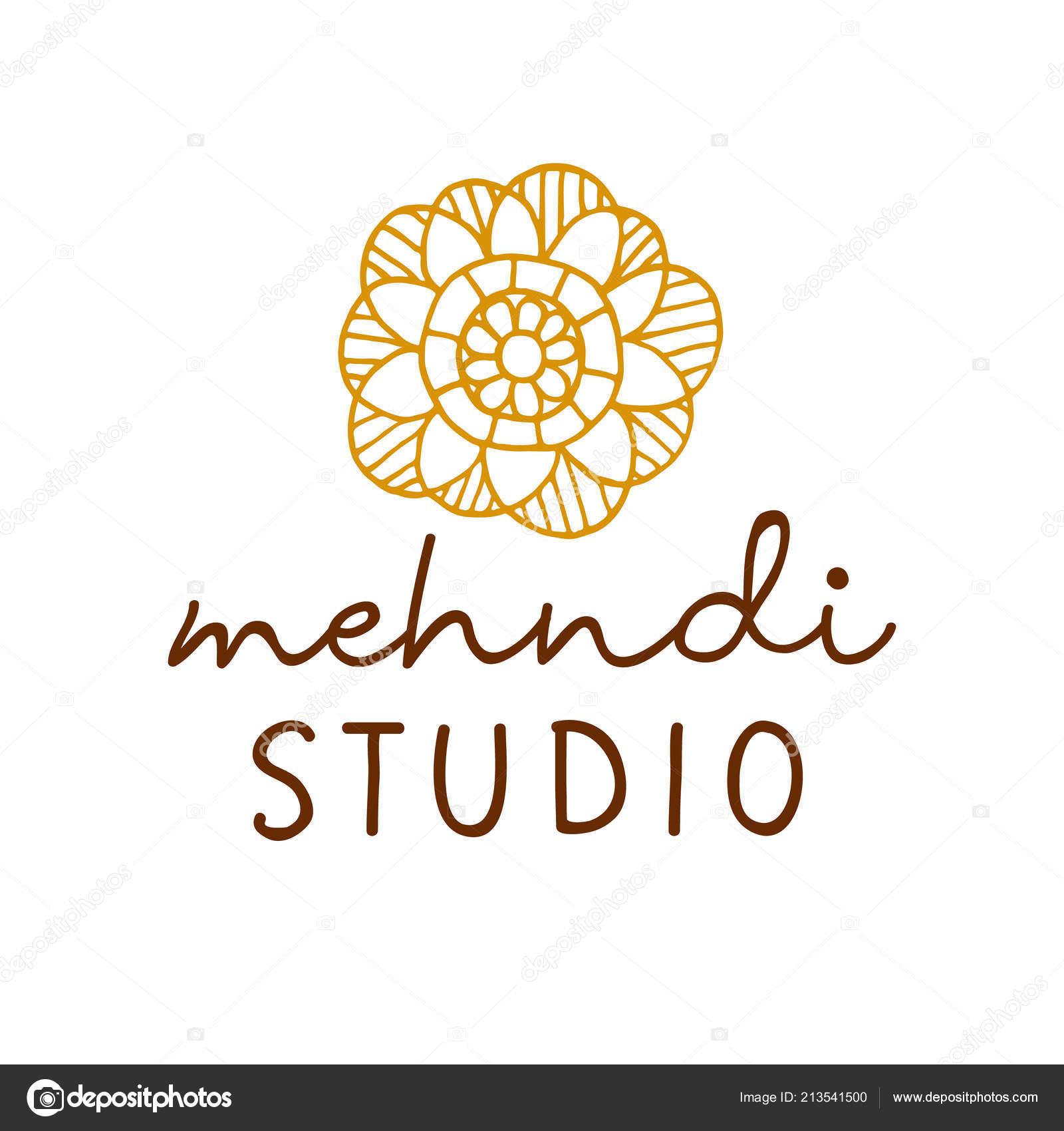 Vector Henna Mehndi Logo Traditional Mandala Flower Tattoo Studio