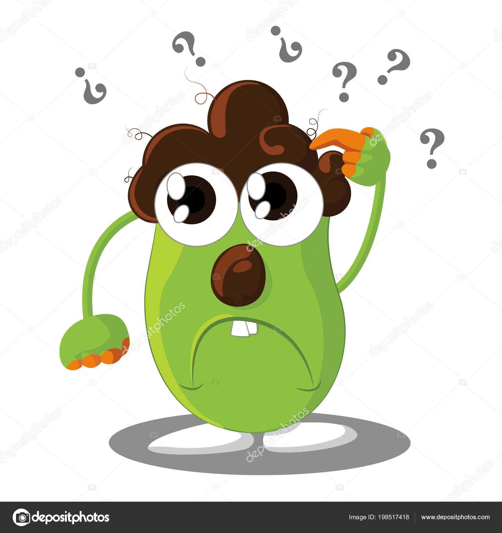 confused cartoon character question marks his head vector