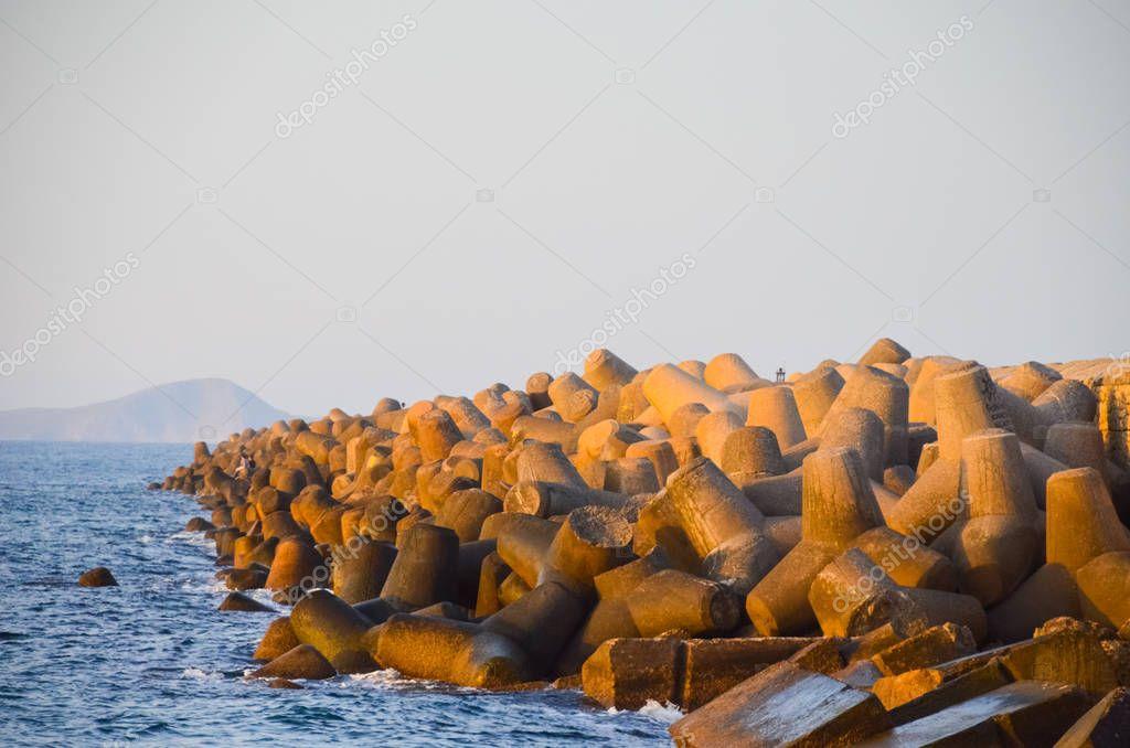 groynes in port of Heraklion, Crete Island