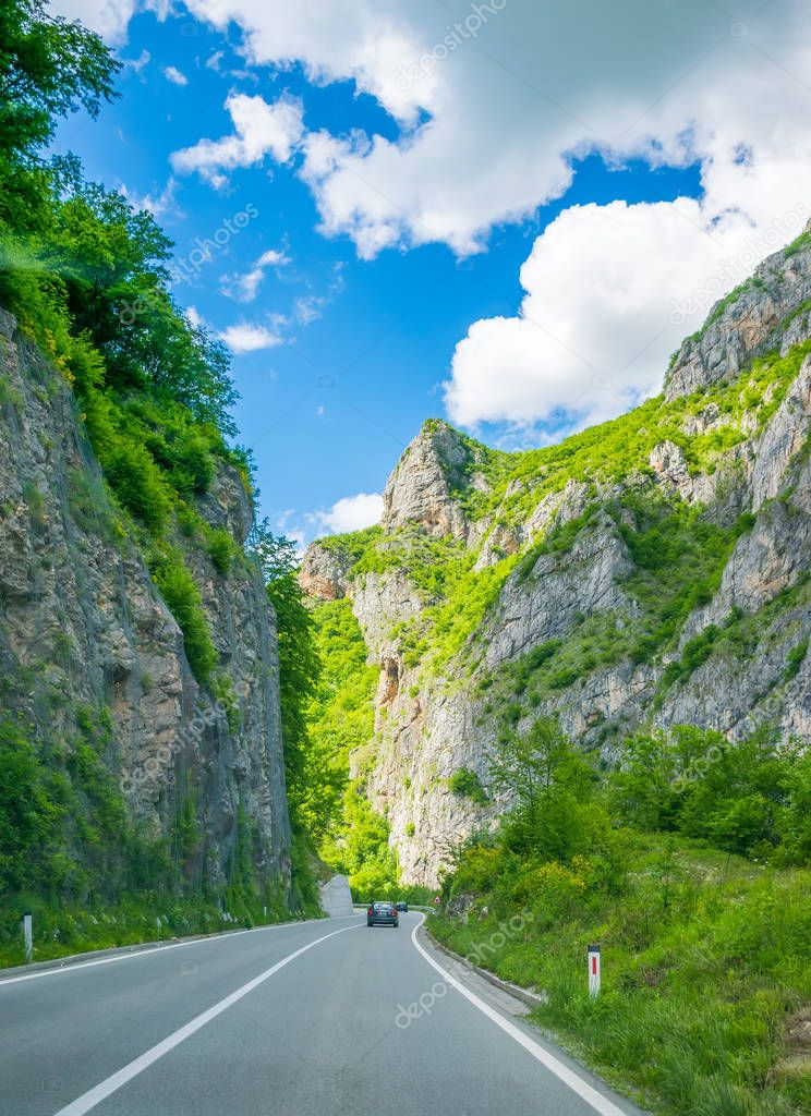 MONTENEGRO - MAY 29, 2017: picturesque road passes through mountains and canyons in Montenegro