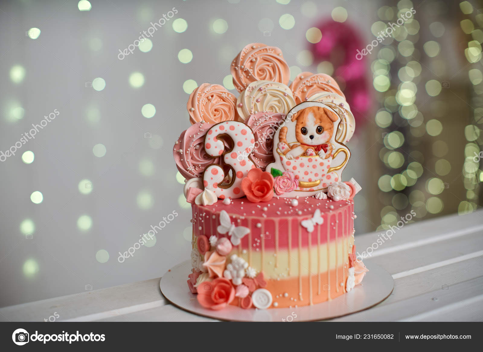 Birthday Cake Years Decorated Butterflies Gingerbread Kitten