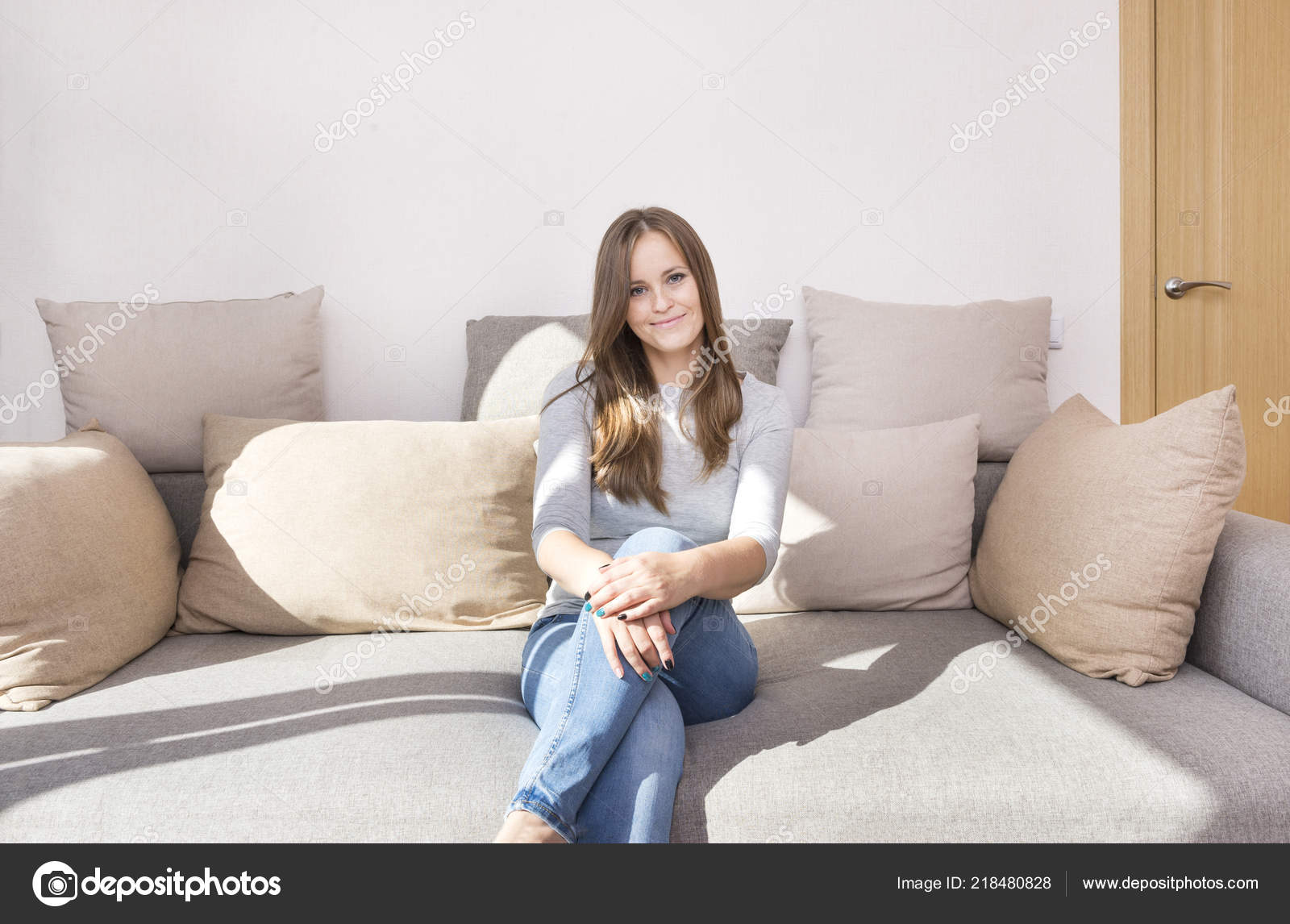 Amazing White Girl Long Hair Jeans Sitting Couch Girl Smiling Squirreltailoven Fun Painted Chair Ideas Images Squirreltailovenorg