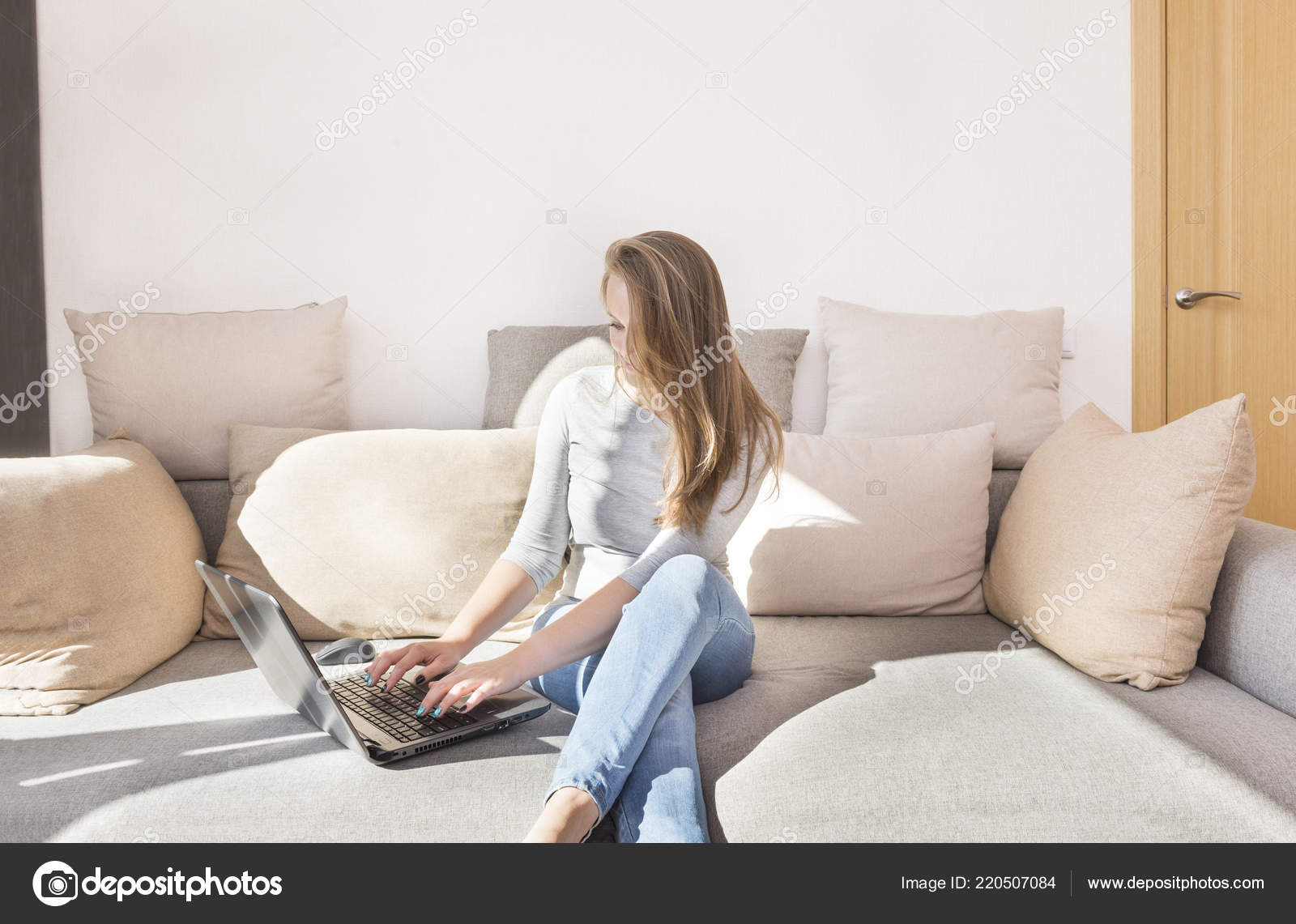 Groovy White Girl Long Hair Jeans Sitting Couch Laptop Man Gadget Squirreltailoven Fun Painted Chair Ideas Images Squirreltailovenorg