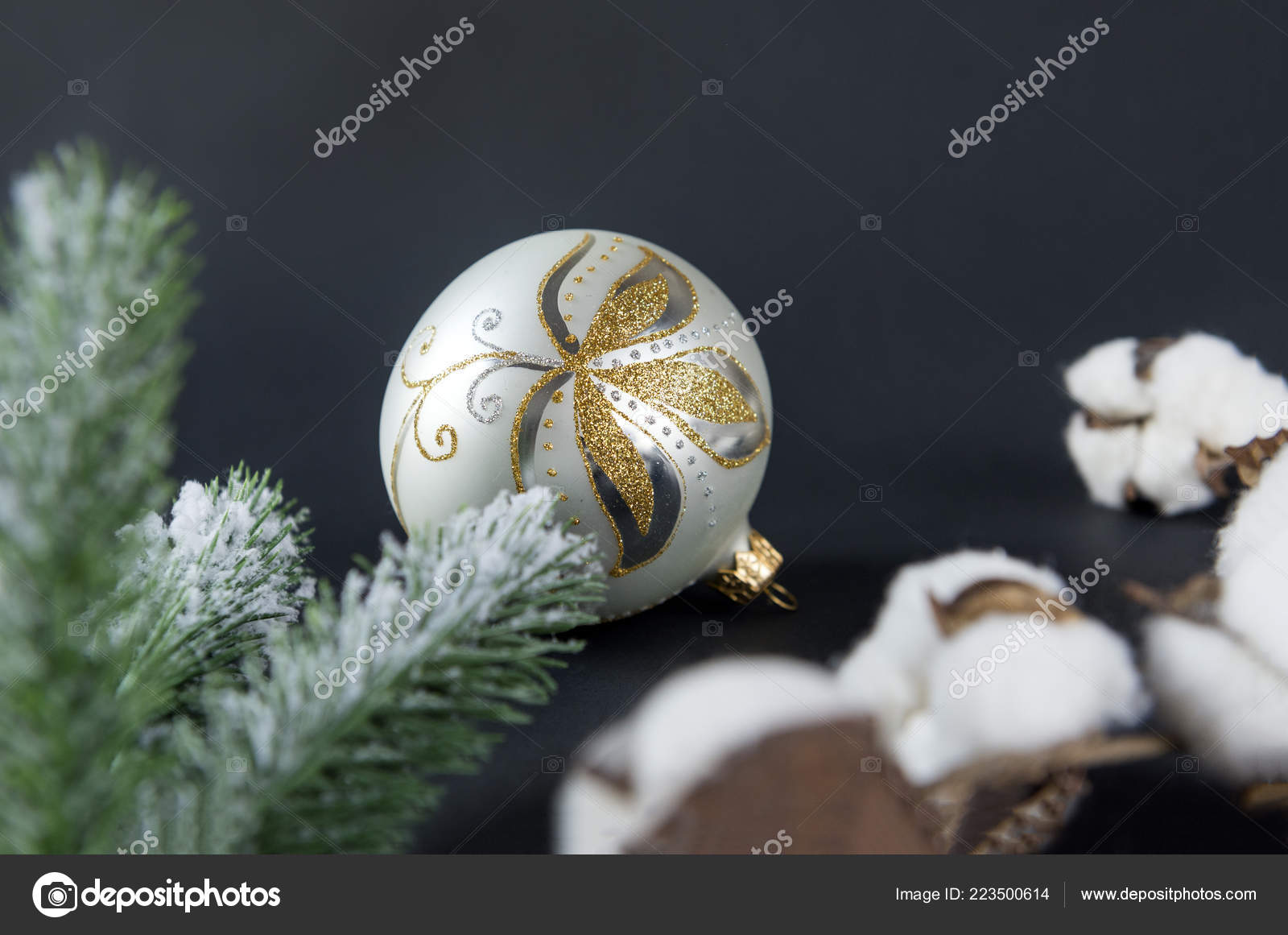 Silver Christmas Ball Golden Pattern Cotton Branches Spruce Branch Black Stock Photo C Elenaboronina111 Gmail Com 223500614