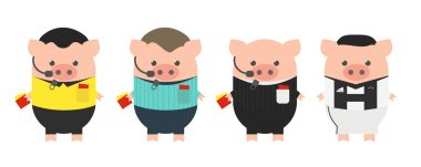 Football, soccer referees. Ronaldo, Year of the Pig, cartoon
