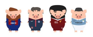 Football, soccer stars. Sallah, Neymar, Messi, Aguero, Manchester City, PSG, Liverpool, Barcelona. Year of the pig, cartoon.