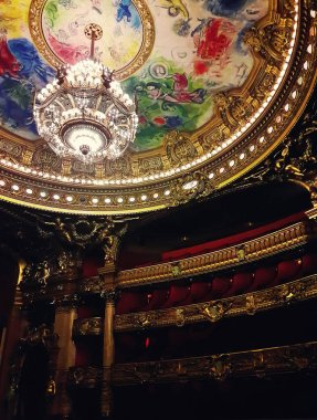 Auditorium inside of the Palace Opera Garnier in Paris, France.