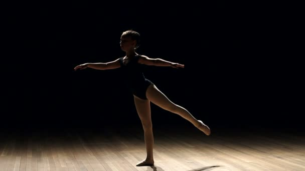 Silhouette of girl ballerina on stage in darkness.