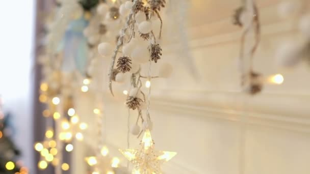 Christmas decoration on the fireplace. Bokeh.